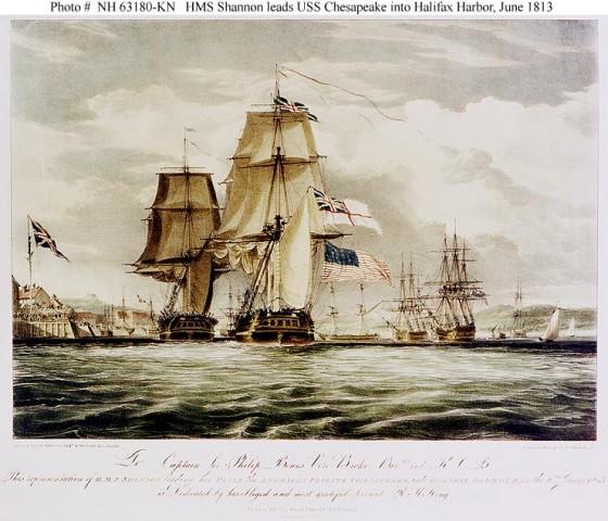 HMS Shannon holuje zdobytą fregatę Chesapeake do portu w Halifaksie (1813)